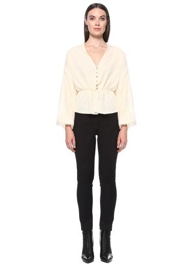 NetWork Kadın 1077586 Slim Fit Dokulu Bluz Ekru